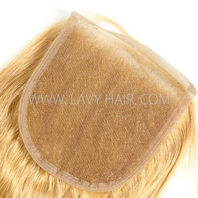 "Color 27 Lace top closure 4*4"" Straight  Human hair medium brown Swiss lace"