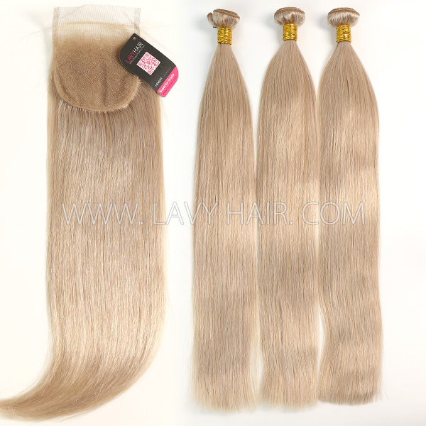 Color 18 Straight Hair Human Virgin Hair 2/3 Bundles With Lace Closure 4*4