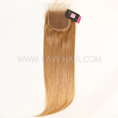 "Color 10 Lace top closure 4*4"" Straight  Human hair medium brown Swiss lace"