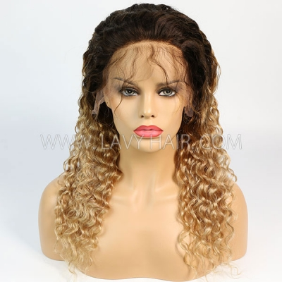 Color T4/27 Lace Frontal Wigs 130% Density Deep Wave Human Hair