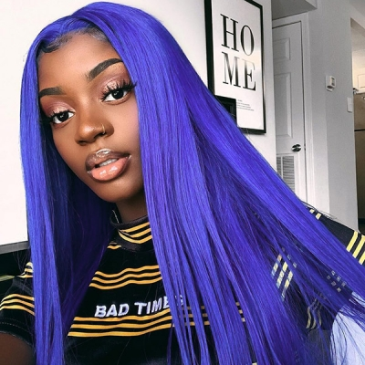 Blue Color 130% Density Lace Frontal wig Straight Hair Human Hair
