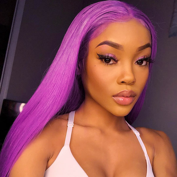 Purple Color 130% Density Lace Frontal wig Straight Hair Human Hair