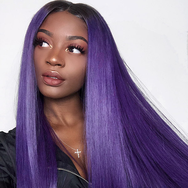 1B/Purple Color Lace Frontal Wig Straight Hair Human Hair