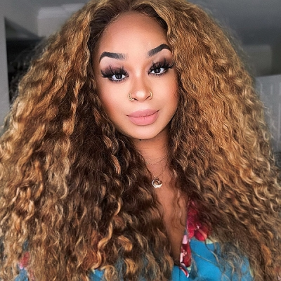 #4 Brown Color brown Color Lace Frontal Wigs 130% Density Deep Curly Human Hair