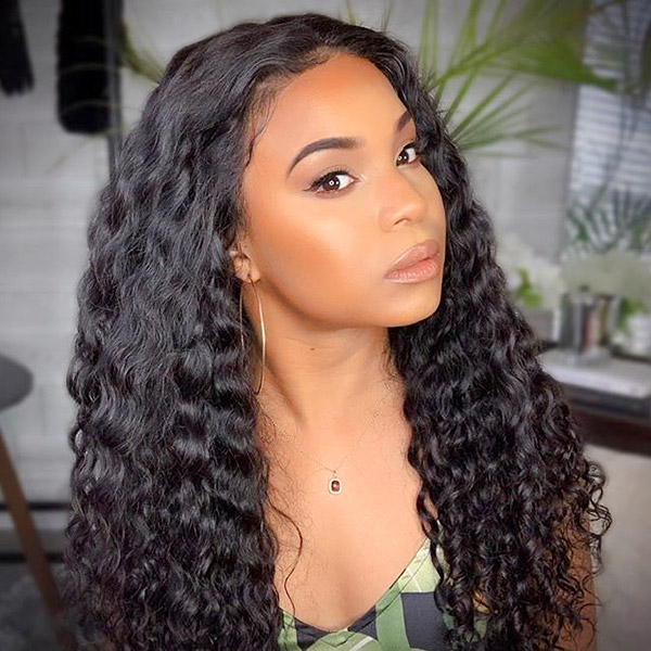 Deep Wave Hair Lace Frontal Wigs 180% Density