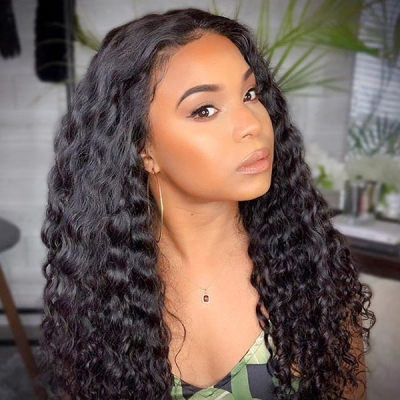 Lace Frontal Wigs 180% Density Deep Wave Human Hair