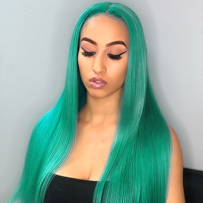 Emerald Color 130% Density Lace Frontal wig Straight Hair Human Hair