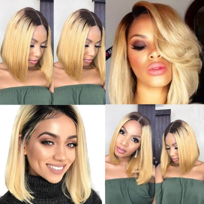 #1B/613 Color Lace Frontal Bob Wig 150% Density Straight Hair Human Hair