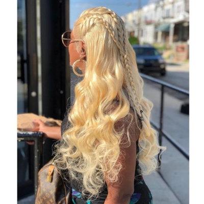 #613 130% Density Blonde Full Lace Wigs Body Wave Human Hair