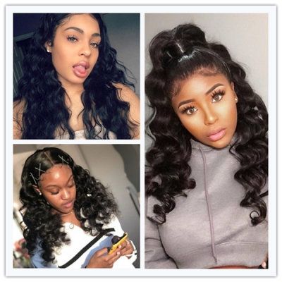 U-part Lace Front Wigs 130% Density Loose Wave Human Hair
