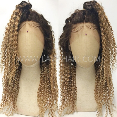 Color T4/27 Lace Frontal Wigs 130% Density Deep Curly Human Hair