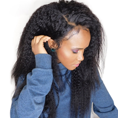 U-part Lace Frontal Wig Side Part 130% Density Kinky Straight Human Hair