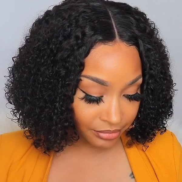 180% Density Bob Wig Celebrity Style Small Kinky Curly Lace Closure Wig