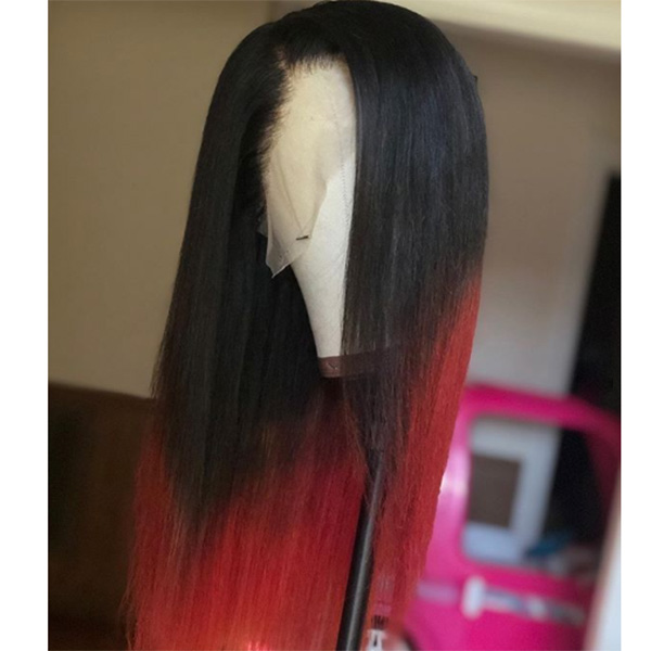 1B/Red Color Silky Straight Hair Wig Customize in 7 Working Days 13*6-130lfw-05