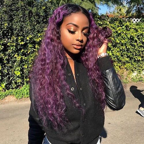 Suprise Offer 1B/Purple Color Curly Human Hair Wig 7 Days Making CW-09