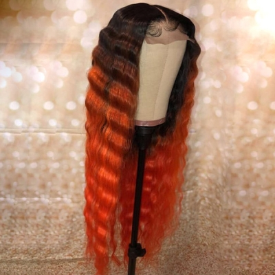 Custom Wavy Hair Wig Deep Orange Ombre Color With 7 Business Days CW-11