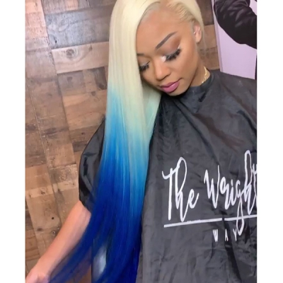 613 Blonde and Gentian Blue Ombre Color Straight Hair Wig in 7 days Customization CW-25