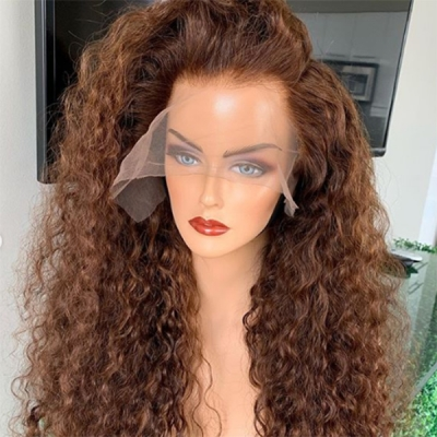 Brown Color Like Picture Curly Hair Wig With 7 Workdays Customize CW-37