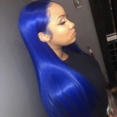 7 Workdays Ready Gentian Blue Color Straight Human Hair Wig CW-34