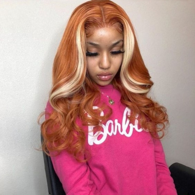 Salmon Orange Ombre Color Wavy Wig Making for 7 Workdays CW-26