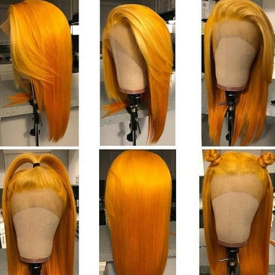 Melon Yellow Color Straight Hair Lace Wig Customize Only 7 Days CW-45