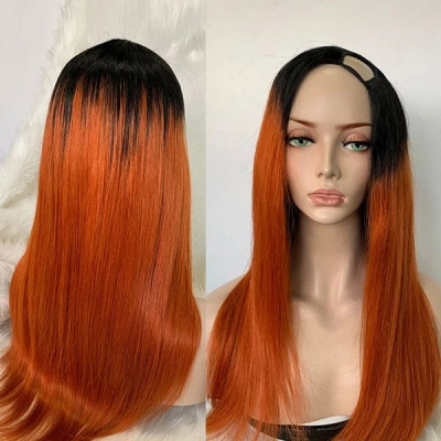 1B/Orange Color Straight Hair U Part Wig With 7 Days Customize CW-71