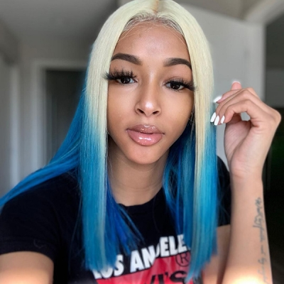 Blonde And Sky Blue Ombre Color Straight Hair Wig 7 Days Ready CW-54