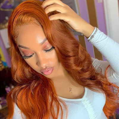 Honey Brown Color Wavy Hair Lace Wig 7 Days Customize CW-70
