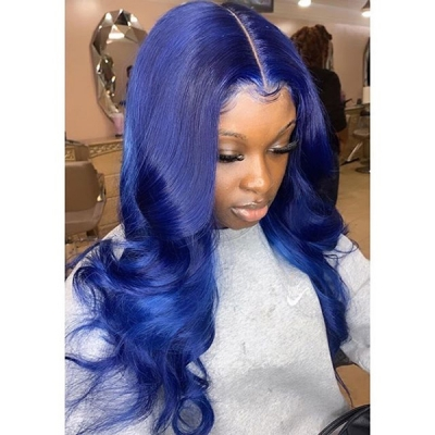 Customizing 7 Workdays Days Signal Blue Color Wavy Wig CW-57