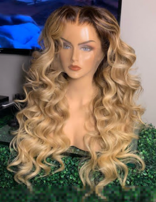 Wavy Human Hair Lace Wig Ombre Sandcastle Color 7 Days Making 130lfw-75A3