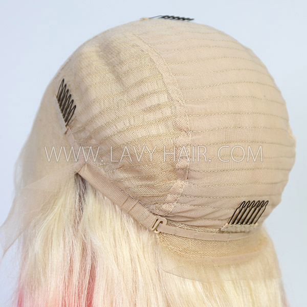 Blonde and Strawberry Red Ombre Color Straight Hair Wig 7 Days Waiting 613lfw-36A18