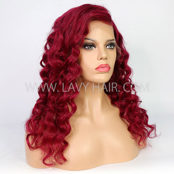 7 Business Days Making Signal Red Color Wavy Virgin Hair Wig 613lfw-29A16