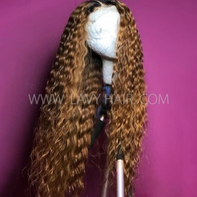 180% Density 1B/30 Ombre Color & Natural Color Loose Deep Wave Human Hair Lace Frontal Wigs
