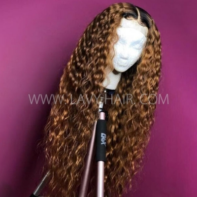 1B/30 Ombre Color Loose Deep Wave Human Hair Lace Frontal Wigs