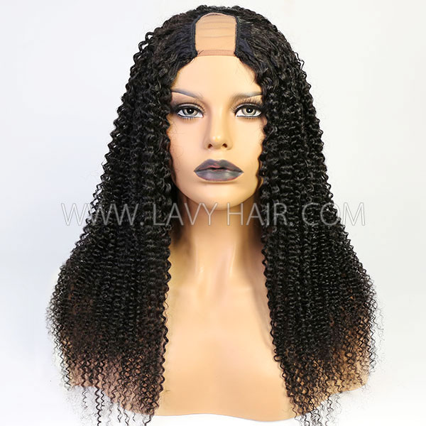 130% Density U-part Lace Frontal Wig Kinky Curly Human Hair