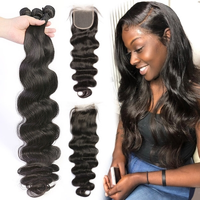 Superior Grade 3/4 bundles with 4*4 lace closure Body wave Virgin Human hair Brazilian Peruvian Malaysian Indian European Cambodian Burmese Mongolian
