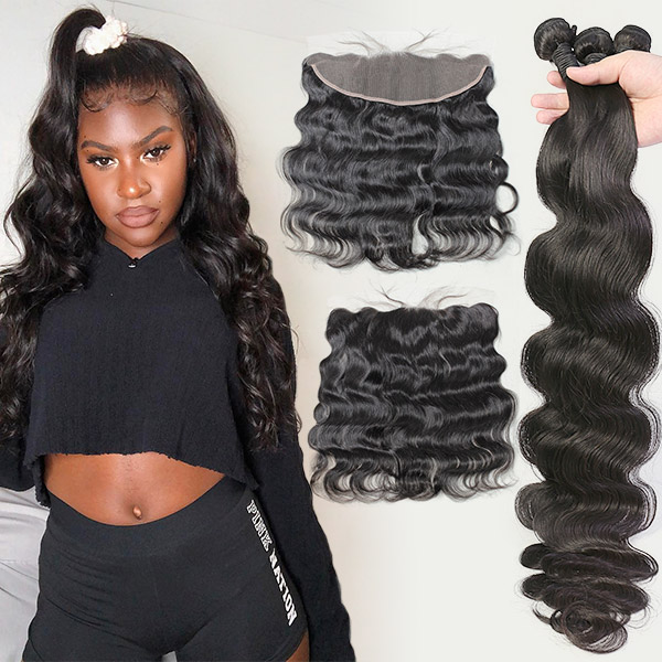 Superior Grade mix 3 bundles with 13*4 lace frontal closure Peruvian Body wave Virgin Human hair extensions