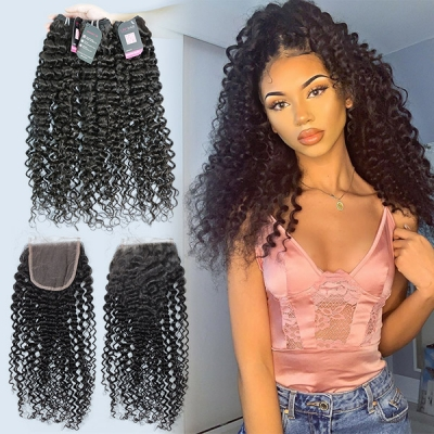 Superior Grade mix 3 bundles with lace closure Malaysian Italian Curly Virgin Human hair extensions