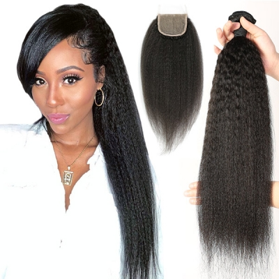 Superior Grade mix 3 bundles with lace closure Malaysian Kinky Straight Virgin Human hair extensions