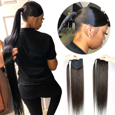 Straight Hair Clip-in Ponytail Wrap Around Human Virgin Hair Extention