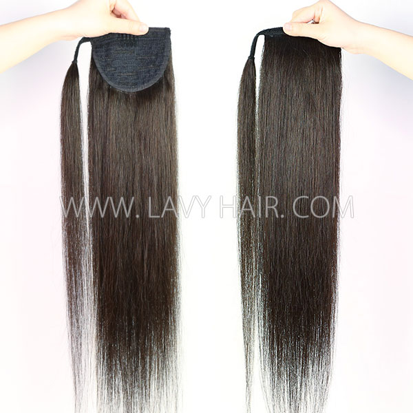 Straight Hair Vigorous Drawstring Ponytail and Wrap Around Ponytail Clip-in Human Virgin Hair Extension