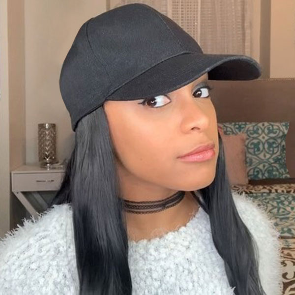 Hat Wig Straight Hair Human Hair Extension With Baseball Hat Adjustable Cap Size
