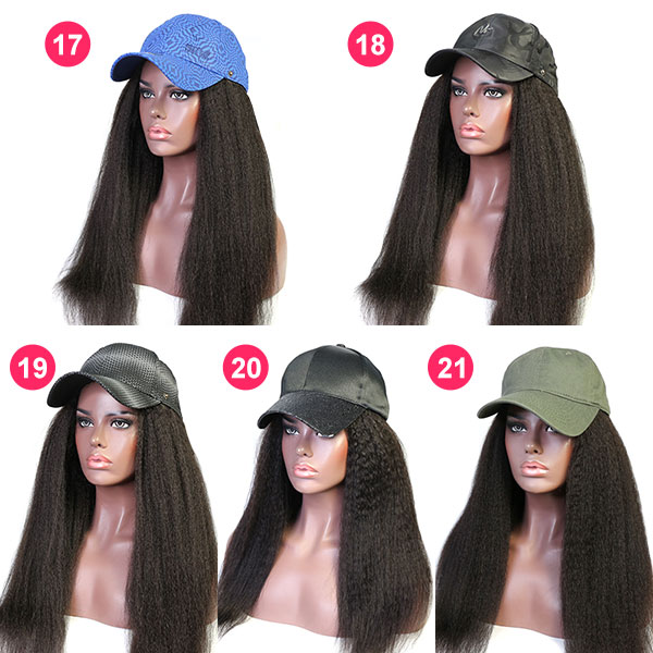 Kinky Straight & Kinky Curly Texture Human Virgin Hair With Baseball Hat Adjustable Size
