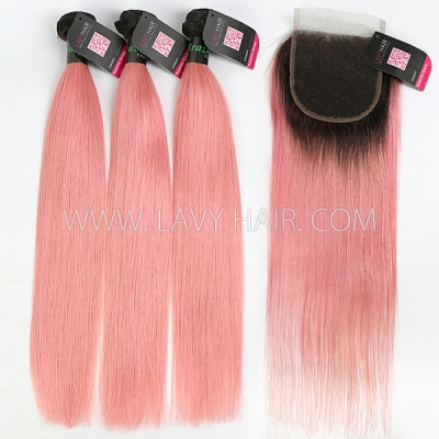 #1B/Pink Superior Grade 4 bundles with Lace Closure Body Wave Hair Brazilian Peruvian Malaysian Indian European Cambodian Burmese Mongolian