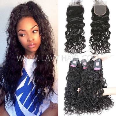 Superior Grade 3/4 bundles with 4*4 lace closure natural wave Virgin hair Brazilian Peruvian Malaysian Indian European Cambodian Burmese Mongolian
