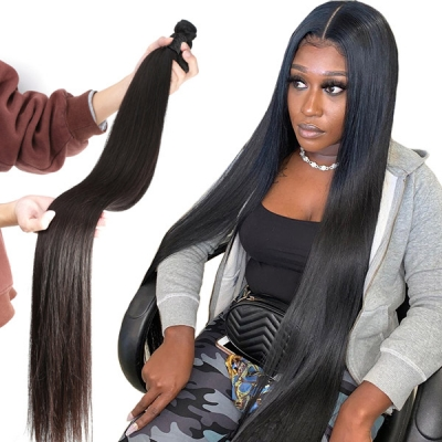 12-40 inch Superior Grade 1 bundle Straight Virgin Human hair extensions Brazilian Peruvian Malaysian Indian European Cambodian Burmese Mongolian