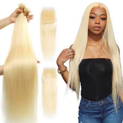 #613 Superior Grade 3 Bundles With Lace Closure Straight& Body Wave Hair Brazilian Peruvian Malaysian Indian European Cambodian Burmese Mongolian