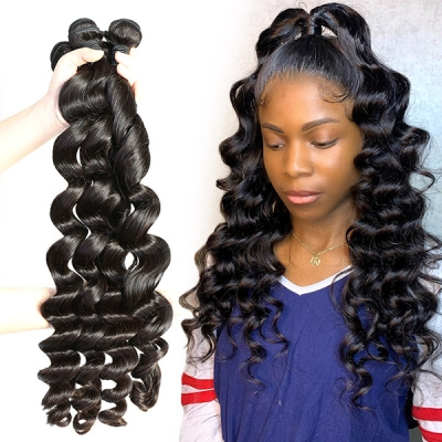Superior Grade 3/4 bundles loose wave Virgin Human hair extensions Brazilian Peruvian Malaysian Indian European Cambodian Burmese Mongolian