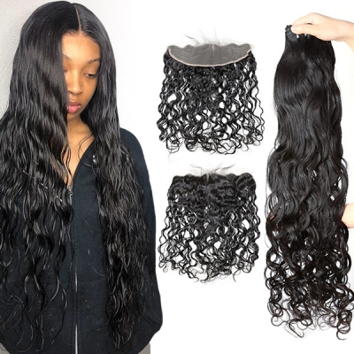 Superior Grade 3 bundles with 13*4 lace frontal Natural Wave Virgin Hair Brazilian Peruvian Malaysian Indian European Cambodian Burmese Mongolian