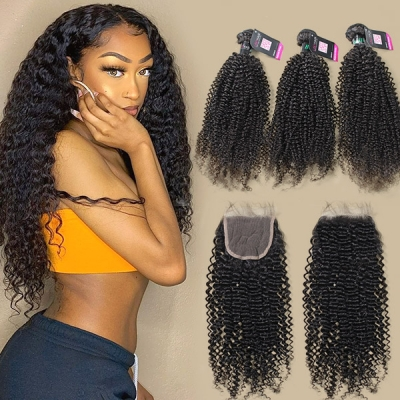 Superior Grade 3/4 bundles with lace closure Brazilian Kinky Curly Hair Brazilian Peruvian Malaysian Indian European Cambodian Burmese Mongolian